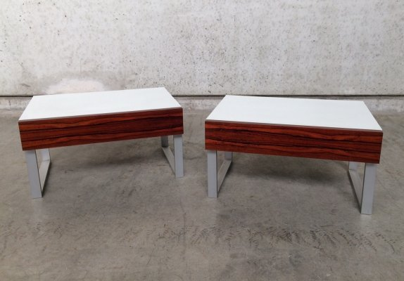 1970's Palissander & Melamine Nighstands / Sidetable set by Interlübke Design