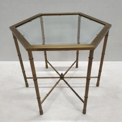 Hexagonal brass & glass faux bamboo side table by Mastercraft