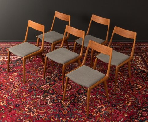 Set of 6 'model 370 Boomerang' dining chairs by Alfred Christensen for Slagelse Møbelværk, Denmark 1950s