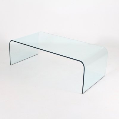 Glass 'Ponte' coffee table by Angelo Cortesi for Fiam, 1990s