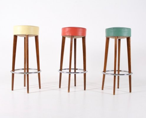 3 french bar stools, 1950s