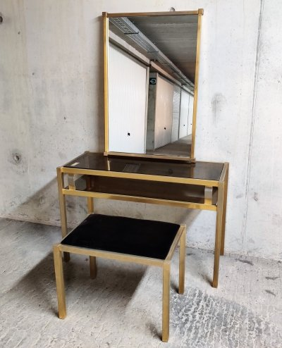 Brass console table with mirror & stool, 1970s