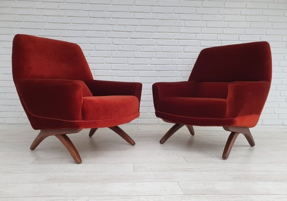 Pair of Danish loungechairs by Leif Hansen, 1960s