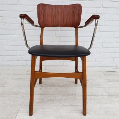 Danish office armchair in teak & beech wood, 1960s
