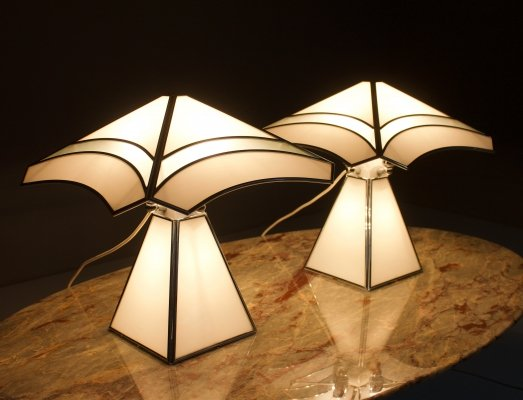 Pair of Italian Glass Table Lamps, 1980s