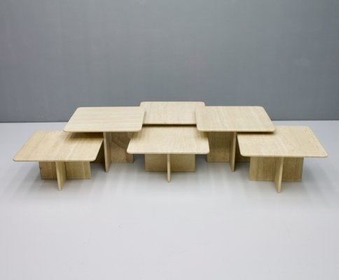 Large set of Travertine Coffee or Side Tables, Italy 1970s