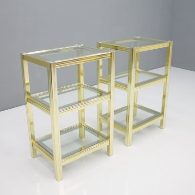 Pair of Crome & Brass Side Tables, 1970s