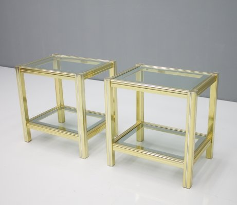 Pair of Chrome & Brass Side Tables, 1970s