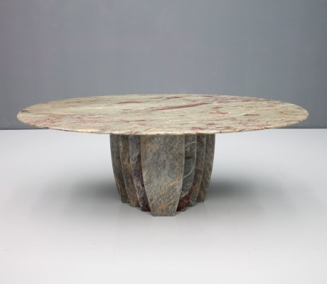 Oval Marble Coffee Table, Italy 1970s