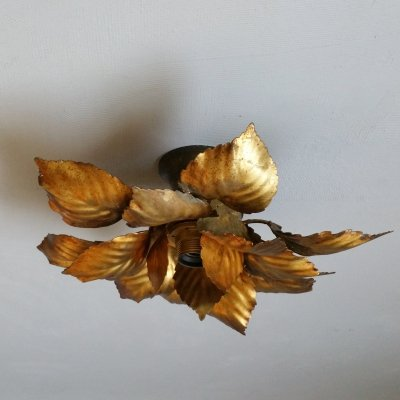Gilt metal leaves ceiling lamp, 1960s
