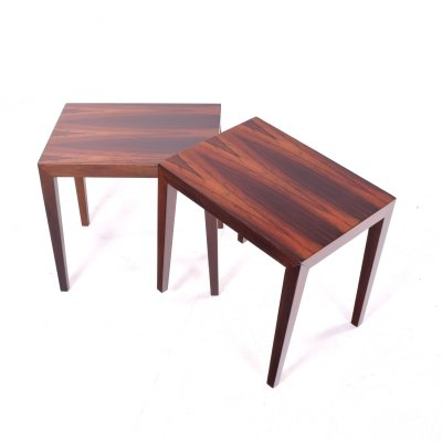 Mid Century Pair of Rosewood Side Tables by Severin Hansen for Haslev