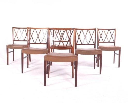 Set of 6 Ole Wanscher Rosewood Dining Chairs for Slagelse Møbelværk, 1960s