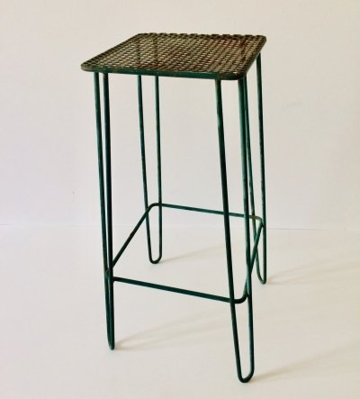 Vintage 1950's Industrial Design pierced metal & hairpin legs Plant Stand