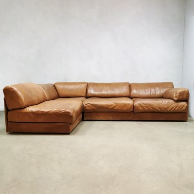 Midcentury design leather modular DS76 sofa by De Sede, 1970s