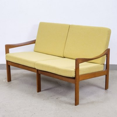 Danish Teak 2-Seater Lounge Sofa by Illum Wikkelsø for Niels Eilersen, 1960s