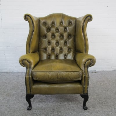Original English Chesterfield lounge chair with olive green leather, 1980s