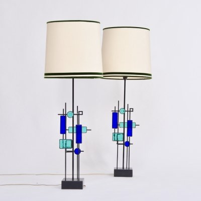Pair of Tall Iron & Glass Table Lamps by Svend Aage Holm Sorensen