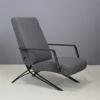 Grey Giulio Moscatelli for Formanova Lounge Chair, Labeled 1960s