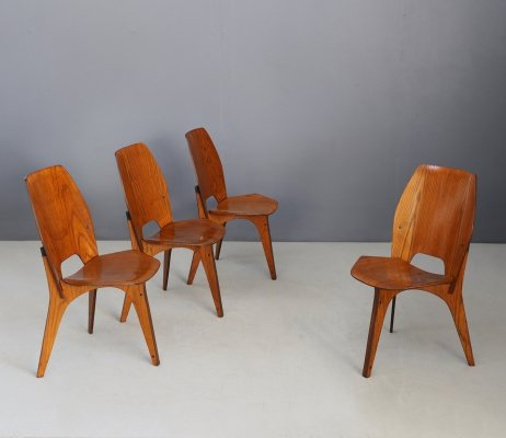 Set of 4 MidCentury chairs by Eugenio Gerli for Tecno, published 1958
