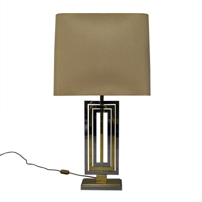 Willy Rizzo table lamp in brass & chrome, Italy 1970s