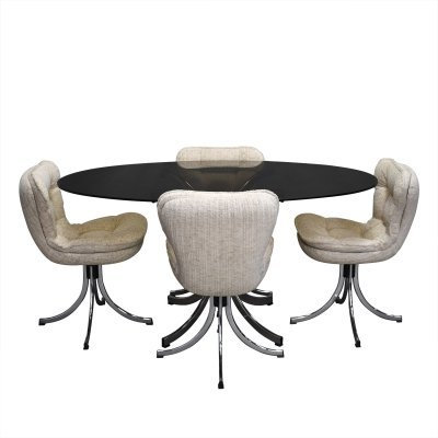 Italian oval dining set in chrome & smoked glass, 1970s