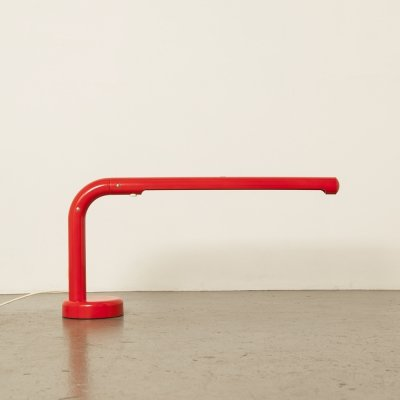 Red Tube desk lamp by Anders Pehrson for Atelje Lyktan, 1970s