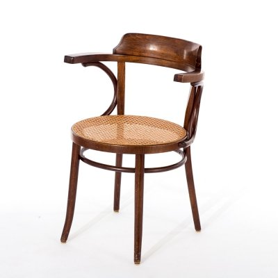 Vintage Thonet model 233 cafe chair with rattan webbing, Romania 1960s