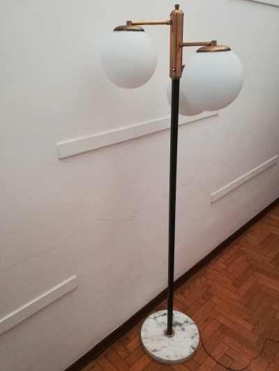 Italian Opaline Glass Spheres Floor Lamp, 1950's