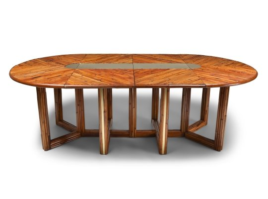 Adjustable Dining Table in Rattan, 1970s