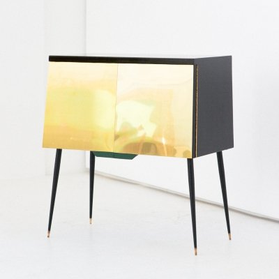 Italian Mid-Century Modern Black Lacquered Wood Brass & Iron Cabinet, 1950s