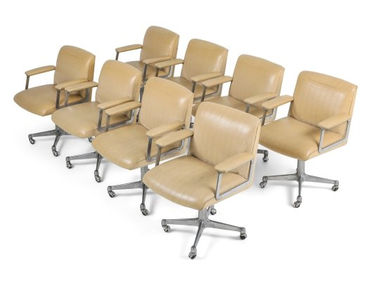 Set of 8 Osvaldo Borsani P126 Swivel Chairs for Tecno, 1960s