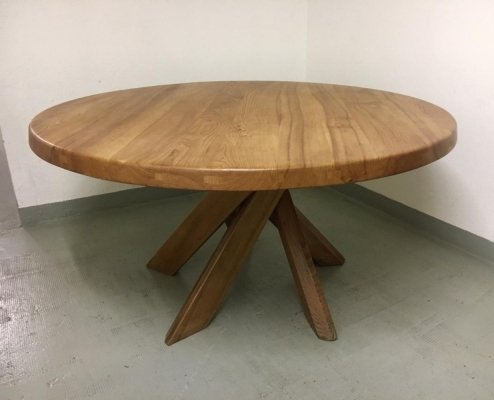 T21D or Sfax Solid Elmwood Dining Table by Pierre Chapo