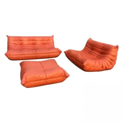 Leather Togo Seating Group by Michel Ducaroy for Ligne Roset, 1990s