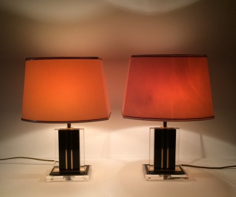 Hollywood Regency Lucite & Brass Table lamp set by Romeo Rega, Italy 1970's