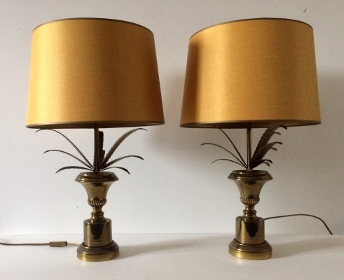 Hollywood Regency Brass Pineapple Table lamp set with Gold Lampshade, 1960's
