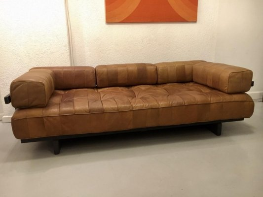 DS80 Leather & Wood Daybed by De Sede Switzerland, 1970's