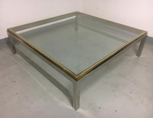 Flaminia Brass & Chrome square coffee table by Willy Rizzo, 1970s