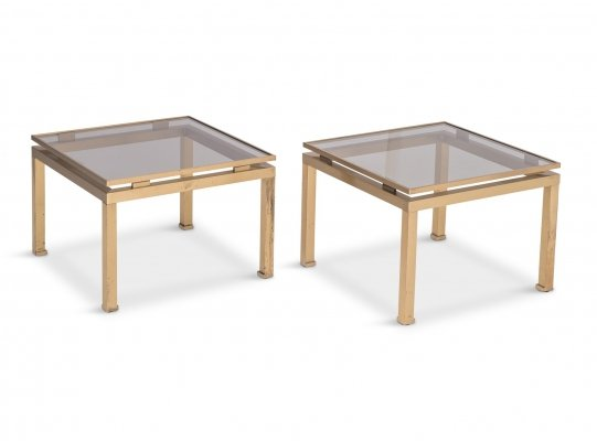 Guy Lefevre Side Tables in Brass & Smoked Glass for Maison Jansen, 1970s