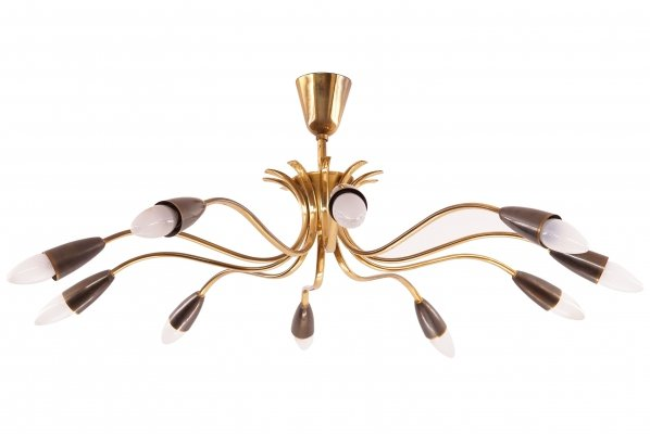 Ten-arm Mid-Century Brass Chandelier, 1950s