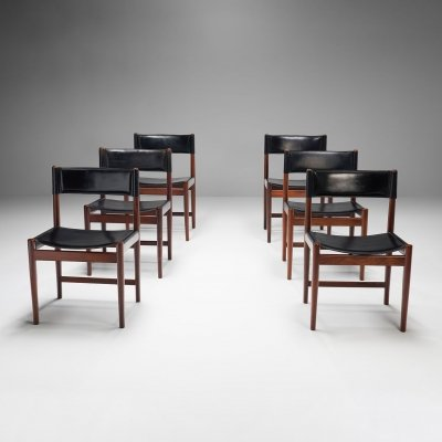 Six Kurt Østervig Dinner Chairs in Dark Wood & Leather, Denmark 1960s
