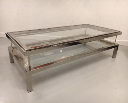 Vintage Chrome & Brass Sliding Top Coffee Table by Maison Jansen, 1970's