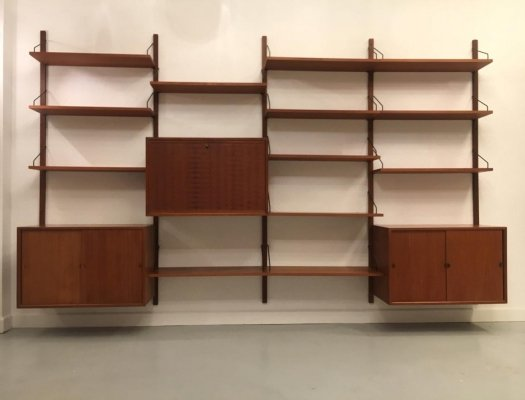 Large Teak Modular Wall Unit by Poul Cadovius, Denmark 1960's