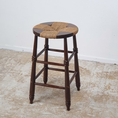 Pronounced French stool with wicker