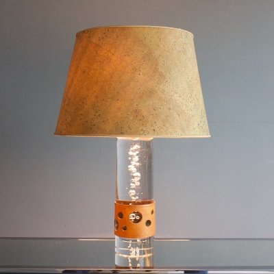 Glass Table Lamp with Bubbles by Daum, France 1970s