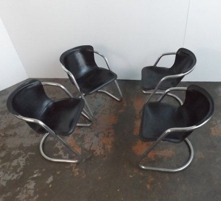 Set of 4 leather Willy Rizzo chairs, 1960s