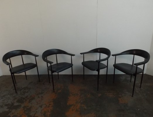 Set of 4 P40 arm chairs by Giancarlo Vegni & Gianfranco Gualtierotti for Fasem, 1980s