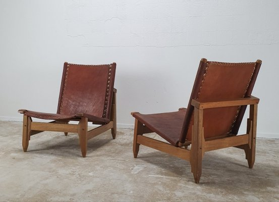 Set of vintage lounge chairs in cognac leather