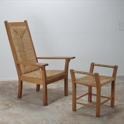 Worpswede low chair with ottoman designed in 1920 by Willi Ohler