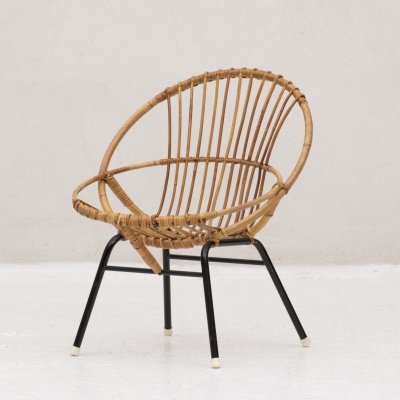 Low back rattan chair by Rohé Noordwolde, the Netherlands 1950's