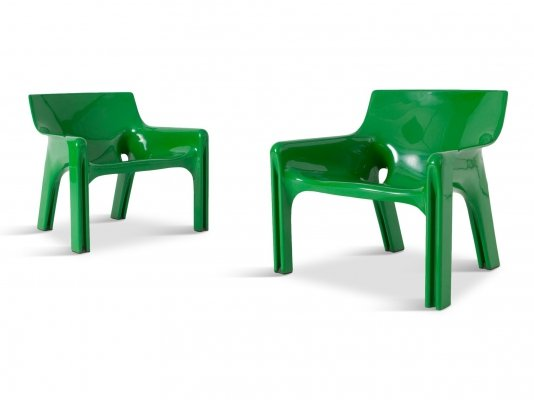 Vico Magistretti Green 'Vicario' Lounge Chairs, 1970s